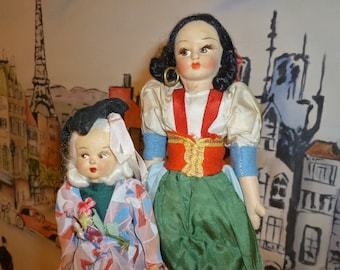 Vintage Travel Souvenir Dolls From The 1950's / Lot Of Two