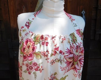Handmade plus size apron made of beautiful pink floral fabric purchased in Paris.