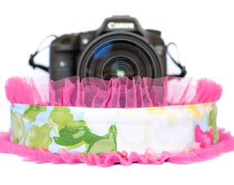 Floral Camera Strap with Bright Pink Tulle