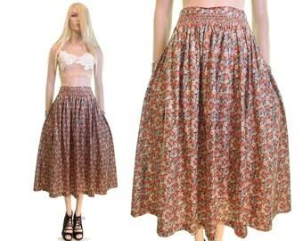 Liberty Of London skirt rockabilly 50s skirt floral skirt cotton full sweep floral print skirt high waist skirt vintage womens clothing s