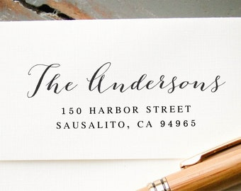 Self Inking Return Address Stamp, Custom Address Stamp, Modern Calligraphy Stamp, Rubber Address Stamp, Personalized Address Stamp