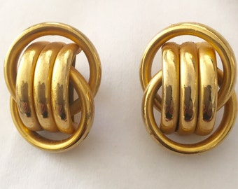 Earrings clips gold plated, 70s and 80s