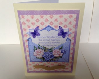 handmade card, 3d handmade card, birthday cards, 7x5 birthday cards, mum cards, flower birthday card, female birthday cards, friend cards,