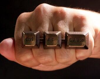 Ctrl+Alt+Del Statement Ring - computer jewelry, keyboard ring