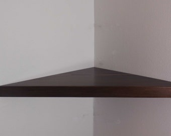 22 Inch Floating Corner Shelf with Espresso Stain Handmade in the USA