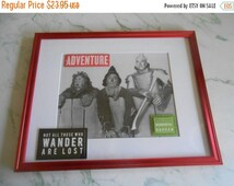 """SALE Wizard of Oz, Cowardly Lion, Tin Man, Scarecrow, wall art, """"Not All Who Wander Are Lost..."""", red metallic frame, Custom Designed"""