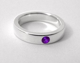 Sterling Silver Amethyst Band - Amethyst Band, Sterling Silver Amethyst Ring, Sterling Amethyst Band, Sterling Silver Amethyst Wedding Band