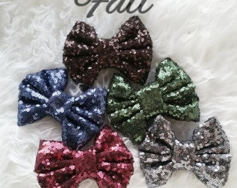 Fall ITTY BITTY BOW sequin bows on clips/fall/bows on clips/girls bows/