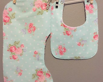 Teal Baby Girl Gift Set Bib, Burp Cloth