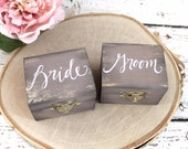 Rustic Wedding Ring Boxes, Ring Bearer Box, Set of Two, Wooden Ring Box, Wedding Gift, Bride and Groom Ring Boxes   Burlap