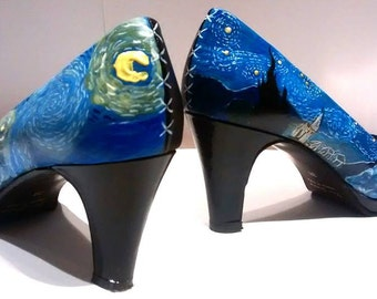 Hand painted toe pumps shoes, Van Gogh