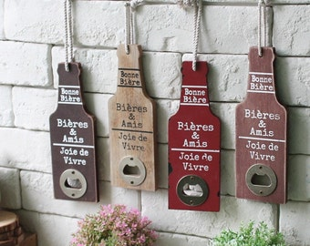 Vintage Restaurant Bar Cafe Home Wall Decoration Vintage Wood handcrafted Creative Beer Bottle Opener Decoration