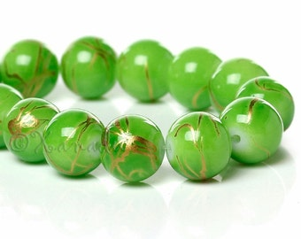 Green Gold 10mm Round Glass Beads - 50/100/200 Wholesale Strands For Jewelry Making G6678