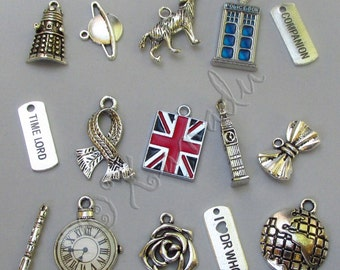 Doctor Who Charms 15PCs Mix - 15/30/45/60 Tardis, Time Lord, Sonic Screwdriver, Dalek, Watch, Union Jack Flag Findings CM2012