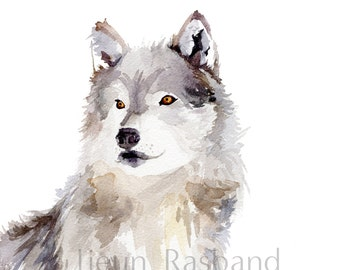 Grey wolf -instant print,animal printable art, watercolor by Jieun Rasband, wall decor, Nursery wall art