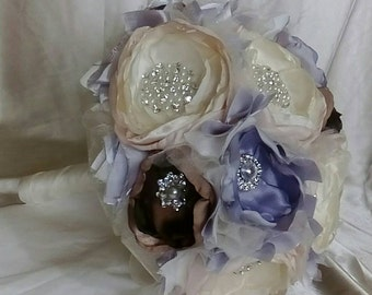 Wedding brooch bouquet, bouquet of flowers and brooches