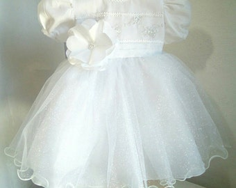 White Baby Girl Dress - flower girl dress, couture dress, baptism dress, pictures, first birthday