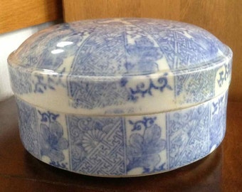 Antique Japanese Imari Blue on White Porcelain Round Covered Box - Late 19th to Early Twentieth Century