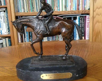 """Vintage Art Deco Style Bronze on Marble Base - Isidore Bonheur's """"Winners Circle"""" (Reproduction) - Mid-Century"""