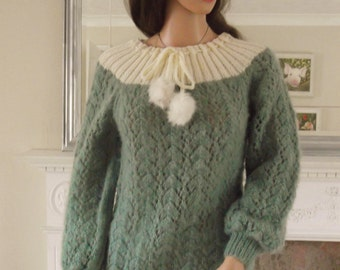 Hand Knitted Sweater, Fluffy Sweater, Women's Clothing, Fluffy Pullover, Grey green Sweater Jumper, Ladies Fashion, Designer Clothing A1183