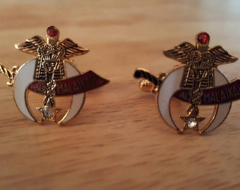 Vintage Medical Masonic Goldtone Cuff Link Set Al Malaikah Diamond and Ruby Colored stones