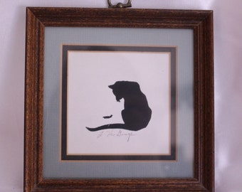 Small picture of a Silhouette of a cat looking at a caterpillar Signed by artist!