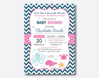 Under The Sea Baby Shower Invitation, Nautical Baby Shower Invites, Navy and Pink, Chevron, Personalized, Baby Sprinkle (SBS.66)