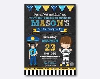 Police Birthday Invitation, Police Invitation, Police Boy Invitation, Police Party Invitation, Personalized, Chalkboard (CKB.530)