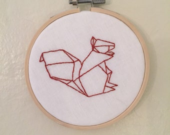 Oragami Squirrel embroidery hoop art