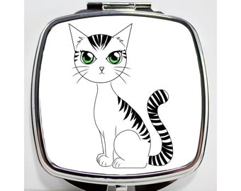 Compact Mirror Cat, Your Choice of Eye Color