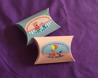18 Personalized Peppa Pig Pillow Boxes, Party Favors
