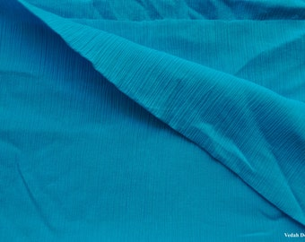 Blue Crinkle fabric sewing supplies crinkled crushed fabric by the yard