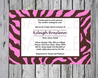 Baby shower invite Pink and Brown Zebra