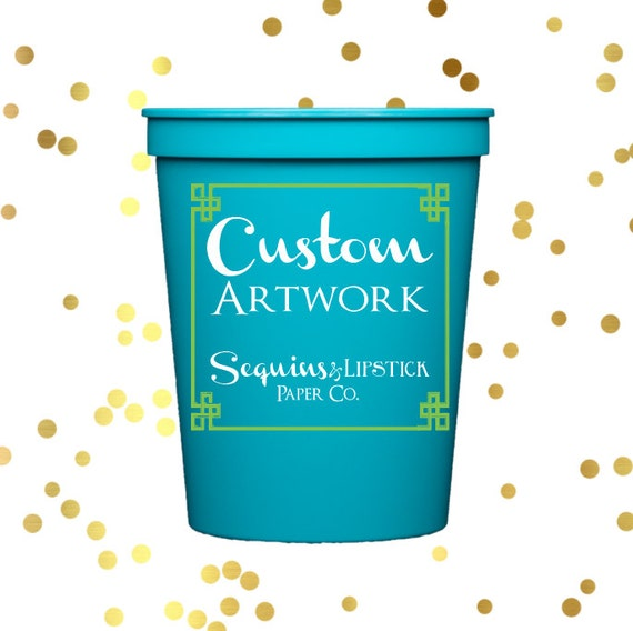 personalized plastic cups, custom artwork, party cups,