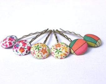 Liberty of London hair pins Children's bobby pins mini fabric covered buttons 15mm size buttons.