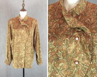 50% OFF FLASH SALE / Gorgeous Vintage Japanese Blouse / Ruffle Collar Blouse / Vintage Shirt / Brown Blouse / Made in Japan / Medium Large