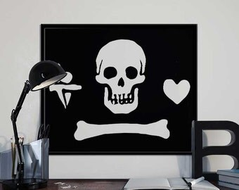 Stede Bonnet Pirate Flag - Alternative Black Sails Pirate Art Print Poster - PRINTABLE 8x10 inches