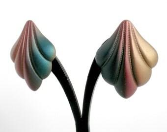 Art Deco Style Earrings, Shell Clip On Earrings, Ombre Earrings, Art Deco Style Jewelry, Ombre Jewelry, Shell Clip Earring, Art Deco Earring