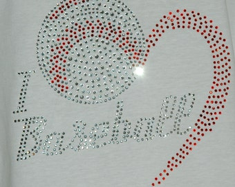 Rhinestone Baseball Heart Iron on Transfer