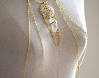Quartz Crystal Gold Body Chain Harness. HC0009