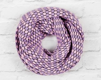 Mulit Coloured Infinity Scarf, Over Sized Infinity Scarf, Wide Scarf, Cotton Scarf, Lilac Scarf, Pink Scarf, Circle Scarf, Looped Scarf