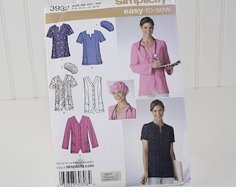 Plus Size Scrubs Top Jacket and Cap Pattern, UNCUT Sewing Pattern, Simplicity 3932, Size 20W-28W