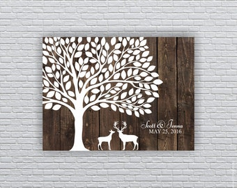 Rustic Wedding Guest tree, 100 Leaf, Deer Silhouette, Wedding Printable Wall Art 18x24, Wedding Guest Book Alternative, INSTANT DOWNLOAD