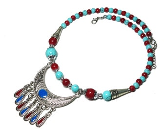 free shipping coral turquoise necklace, spring necklace