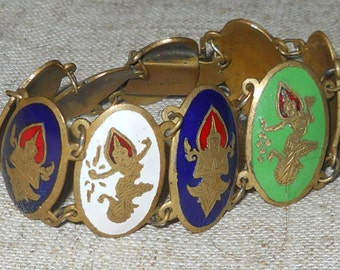 Vintage enamel Siam Thailand brass bracelet
