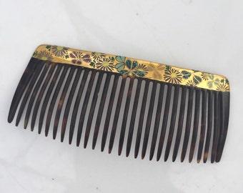 Tortoise hair comb gilt bridal