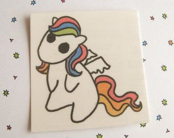 Rainbow Pony Temporary Tattoo, Cute Pony Tattoo, Rainbow Pegasus, Rainbow Hair, Cute Horse, Horse Tattoo, Kawaii Temporary Tattoo