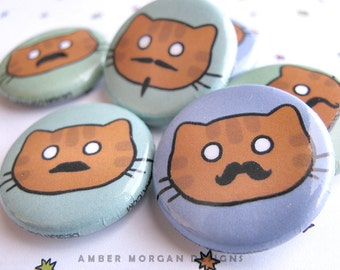 Cute Button Set, Moustache Cat Pins, Cute Cat Face Pin, Funny Cat with Moustache, Cat Lover, Moustache Lover, Wearable Art, Kawaii Button