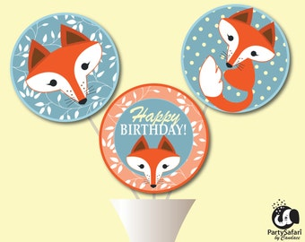 Woodland Red Fox Birthday Party Printable Centerpiece Set   Red Fox Birthday Centerpiece   INSTANT DOWNLOAD   Party Safari By Candace
