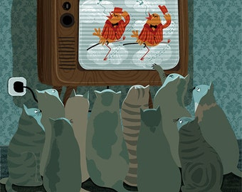 Cats watching TV! Giclée signed and numbered copies. Art Print. Limited edition.